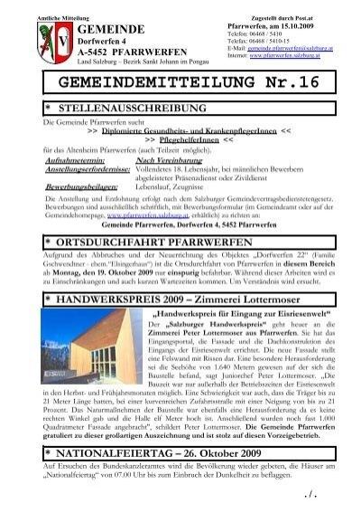 Gemeindemitteilung Nr 16 543 Kb Pfarrwerfen Salzburgat