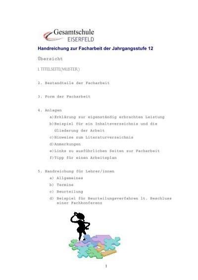 facharbeit gesamtschule eiserfeld - Facharbeit Muster