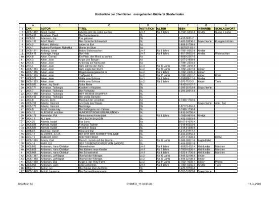 Bucherliste Der Offentlichen Evangelischen Bucherei Oberferrieden