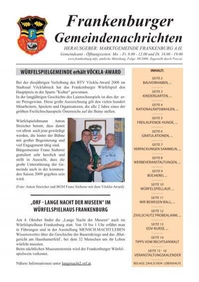 Blind dating in frankenburg: Christliche singles in lanzenkirchen