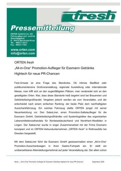"""All-in-One"""" Promotion-Auflieger für Essmann Getränke - orten ..."""