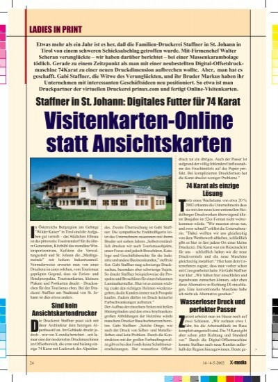 Visitenkarten Online Statt Ansichtskarten X Media