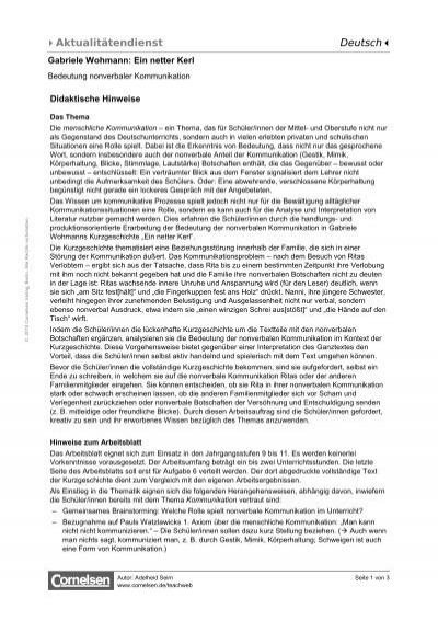 Netter pdf ein kerl Kurzgeschichtenanalyse Ein