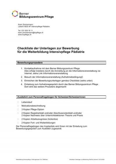 checkliste der unterlagen zur bewerbung fr die weiterbildung - Bewerbung Weiterbildung