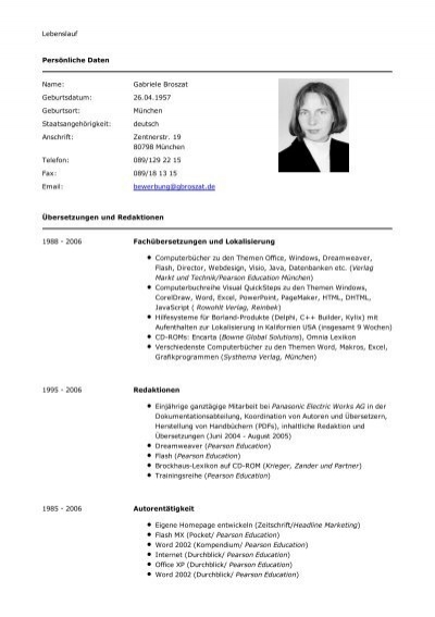 Lebenslauf Persönliche Daten Name Gabriele Broszat. Sample Resume Of A Math Teacher. Curriculum Vitae Pdf Baixar. Objective For Resume Veterinary. Cover Letter Format Quora. Letter Writing Report Format. Cover Letter Template Job Change. Resume And Cv Samples Pdf. Cover Letter Sample Architecture Internship