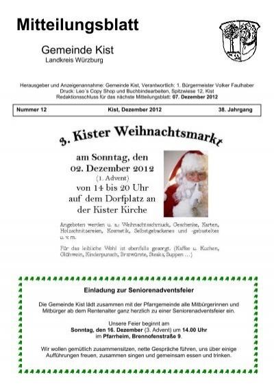 Mitteilungsblatt Dezember 2012 Gemeinde Kist