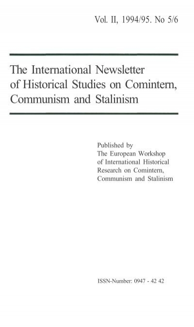 The International Newsletter of Historical Studies on ...