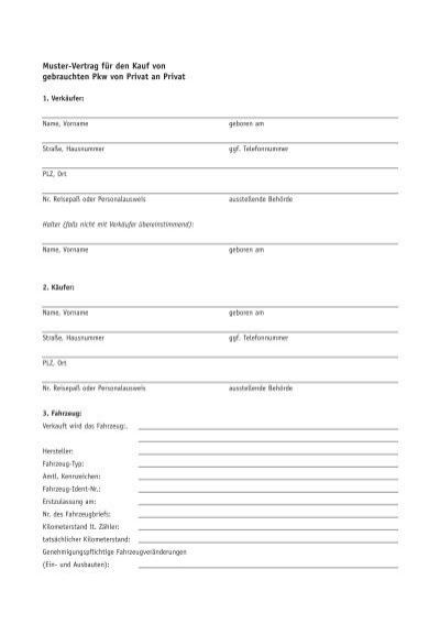 Muster Vertrag Für Den Kauf Von Gebrauchten Pkw Von Privat An Privat