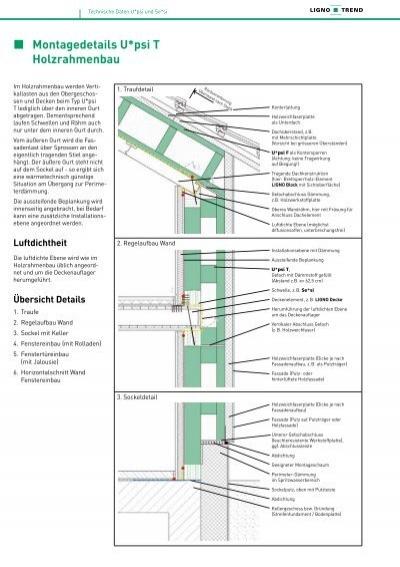 Holzrahmenbau details fenster  Montagedetails U*psi T Holzrahmenbau - Holz & Funktion AG