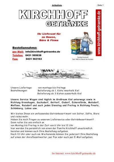 Im Internet: www.kirchhoff-getraenke.de Bestellannahme: - Getränke ...