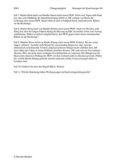 Bwl übungsaufgaben Störungen Des Kaufvertrages Iii Mischal