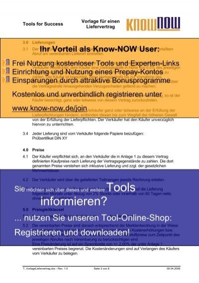 Vorlage Für Einen Liefervertrag Know Now