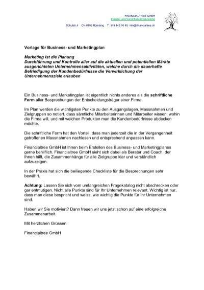 Checkliste Vorlage Business- und Marketingplan - Financialtree ...