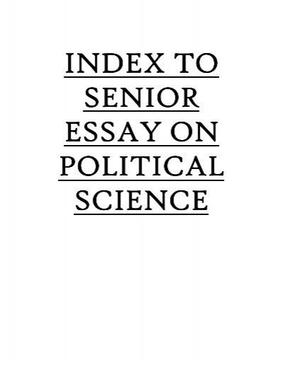 Index To Senior Essay On Political Science  Addis Ababa University