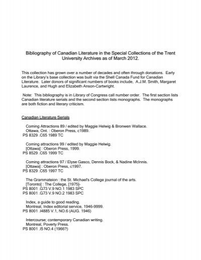 Bibliography of Canadian Literature in the Special ... - Trent University