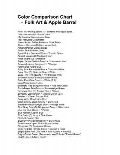 Color Comparison Chart Folk Art Apple Barrel Delta Creative