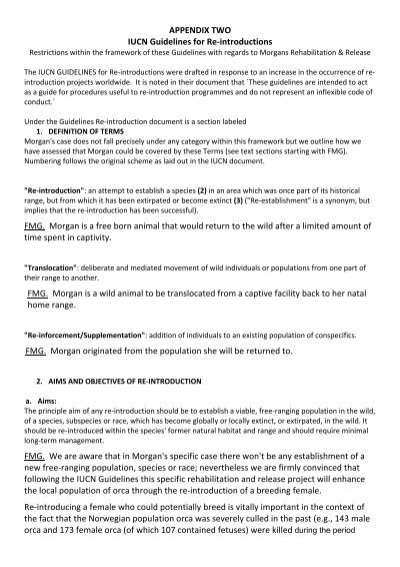 Appendix Two Iucn Guidelines For Re Introductions Fmg