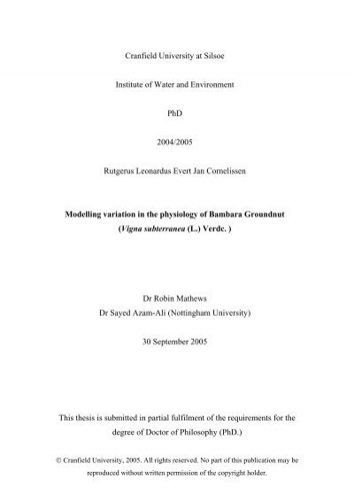 Cranfield university phd thesis