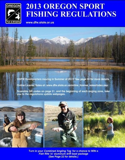 sport fishing regulations oregon department of fish and
