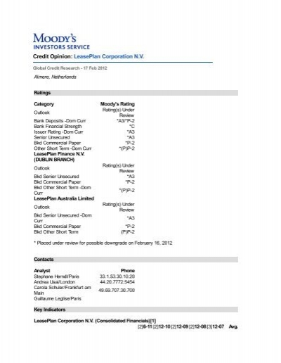 Credit Opinion Leaseplan Corporation N V