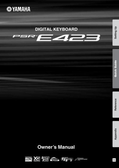 psr e423 owner s manual yamaha downloads rh yumpu com Yamaha PSR E423 Manual Yamaha PSR- E243 Keyboard