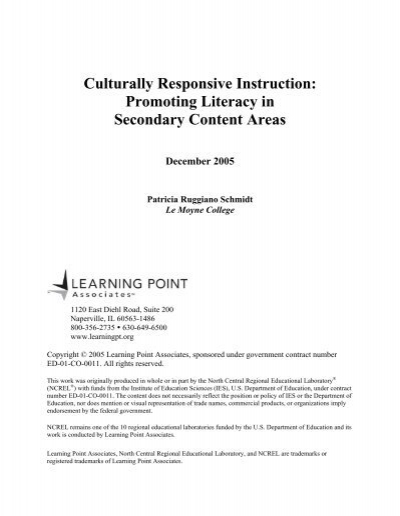 Culturally Responsive Instruction Promoting Literacy In Secondary