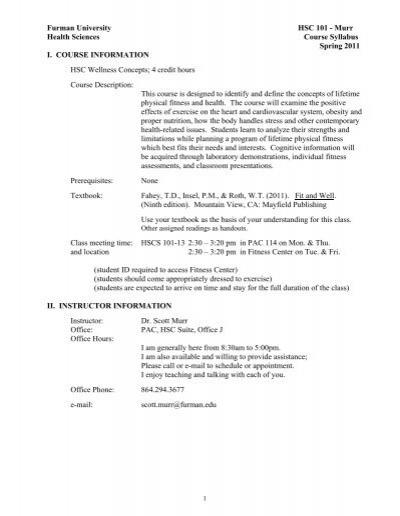 Furman University Hsc 101 Murr Health Sciences Course