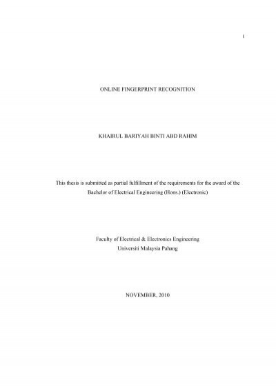 fingerprint recognition thesis