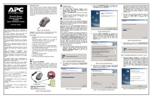 APC BIOM34 Biometric Password Manager Mouse