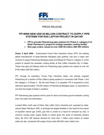 fpi wins new us $138 million contract - Future Pipe Industries