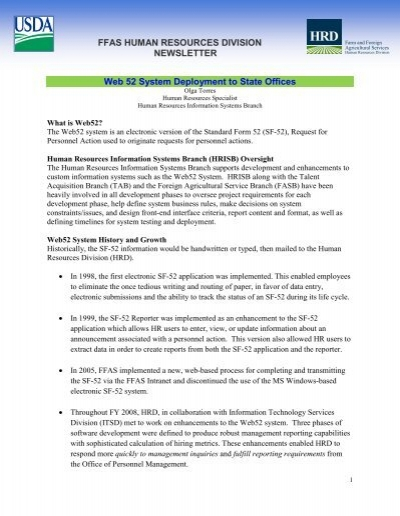 FFAS HUMAN RESOURCES DIVISION NEWSLETTER Web 52 ...