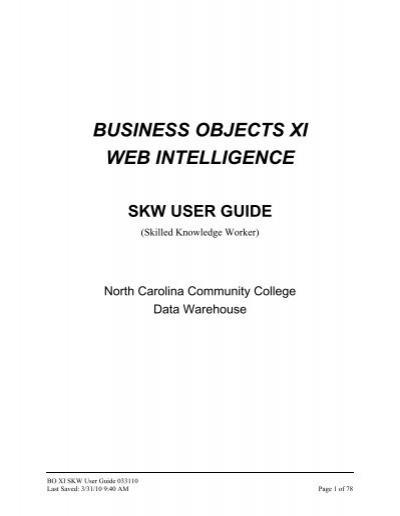 business objects xi web intelligence skw user guide north carolina rh yumpu com business objects 4.0 cmc user guide business objects user guide 4.2