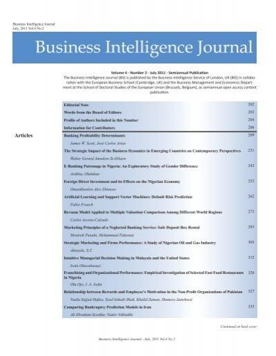 Business Intelligence Journal July 2011 Vol 4 No European