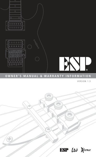 Owners manual warranty information esp guitars publicscrutiny Image collections