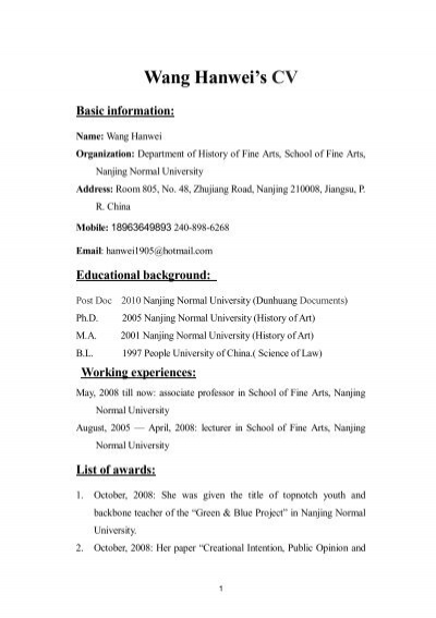 wang hanwei u0026 39 s cv basic information