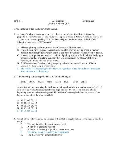 11  2 11 ap statistics statisticians  chapter 5 partner