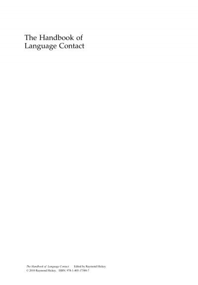 Handbook of Language Contact pdf - elchacocomoarealinguistica