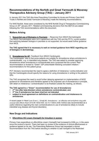 Therapeutics advisory group tag nhs norfolk platinumwayz