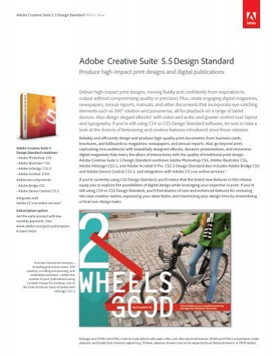 Adobe Creative Suite 5 5 Design Standard What S New