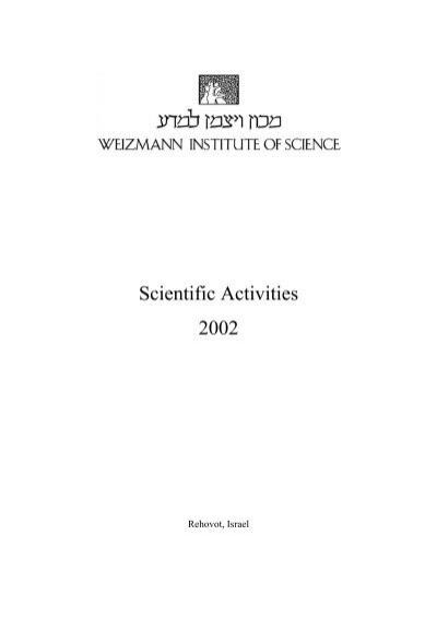 Scientific Activities 2002 Weizmann Institute Of Science
