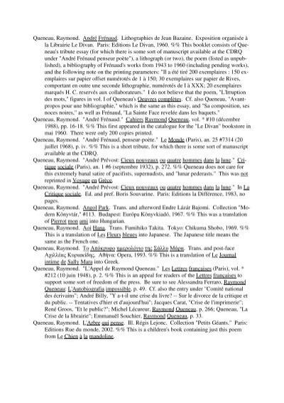 Queneau for Divan 4 lettres