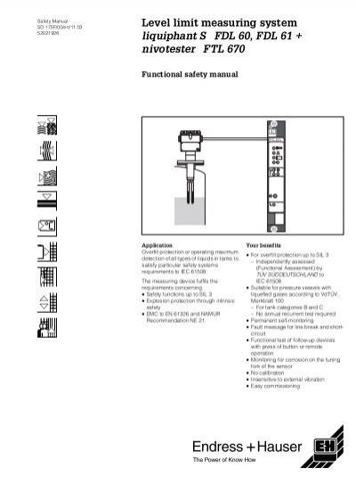 Liquiphant S FDL 60, FDL 61 + Nivotester FTL 670 - Endress+