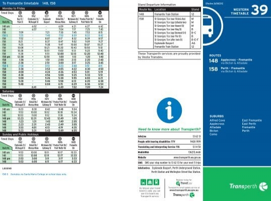 to fremantle timetable 148 158 transperth
