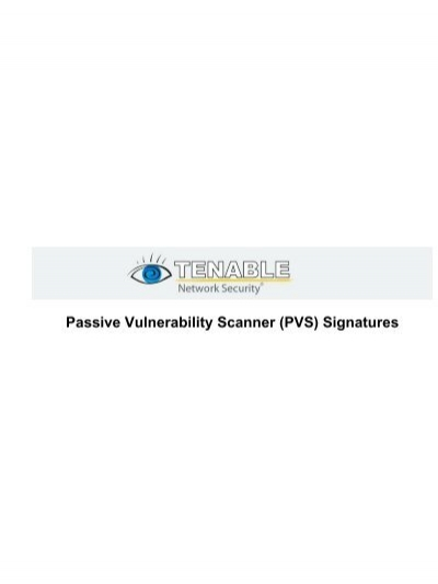 Pvs Signatures Tenable Network Security