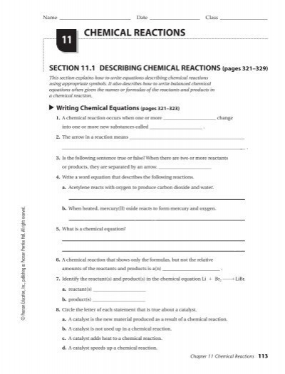 Printables 11 Chemical Reactions Answer Key chgr11
