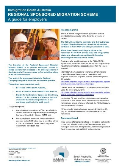 RCB RSMS guide for employers - South Australia- Make the move ...