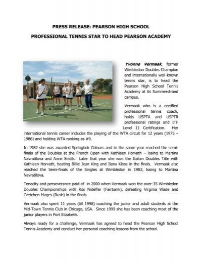 press release: pearson high school professional tennis star to head ...