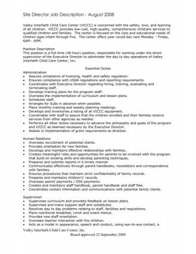 job description for preschool director site director description valley interfaith child 624