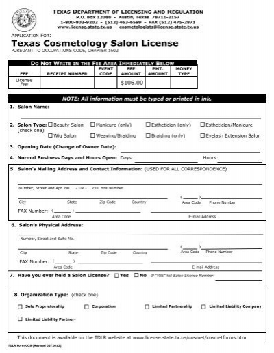 texas state board of cosmetology reciprocity