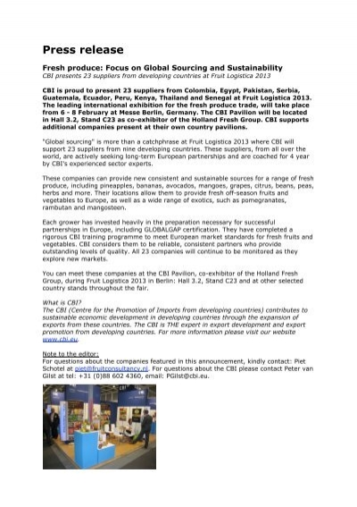 Press Release Fruit Logistica 2013-ENG - Svensk Handel